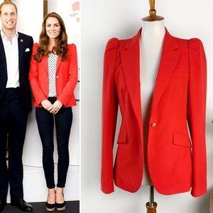 Zara | Red Puff Sleeve Blazer
